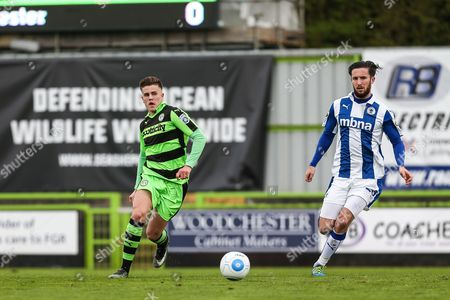 Stock Photo of Forest Green Rovers Charlie Cooper(20) passes the ball during the Vanarama National League match between Forest Green Rovers and Chester FC at the New Lawn, Forest Green