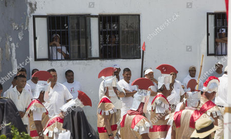 Stock Picture of Prisoners at the David Franco Rodriguez Social Rehabilitation Center (CPDR), known as ?Mil Cumbres?, participate in a presentation of the Passion of Christ in Morelia, Mexico, 14 April 2017.
