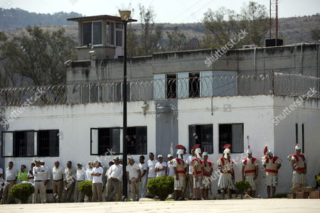 Stock Photo of Prisoners at the David Franco Rodriguez Social Rehabilitation Center (CPDR), known as ?Mil Cumbres?, participate in a presentation of the Passion of Christ in Morelia, Mexico, 14 April 2017.