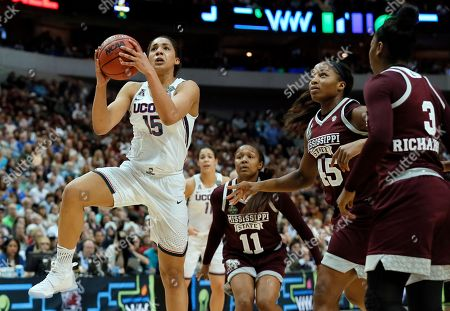 Stock Picture of Breanna Richardson, Chinwe Okorie, Roshunda Johnson, Gabby Williams Connecticut's Gabby Williams (15) goes up for a shot as Mississippi State's Roshunda Johnson (11), Chinwe Okorie (45) and Breanna Richardson (3) defend during an NCAA college basketball game in the semifinals of the women's Final Four, in Dallas