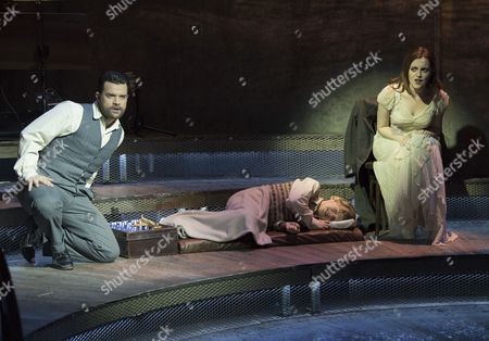 Stock Photo of Simon Bailey as Male Ghost, Stanley Jarvis as Christopher,  Niamh Perry as Female Ghost