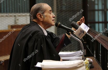 Egyptian Lawyer Farid el-Deeb attends the trial of Alaa and Gamal Mubarak, the sons of former president Hosni Mubarak during their trial in ''Stock Market Manipulation'' case, in Cairo, Egypt