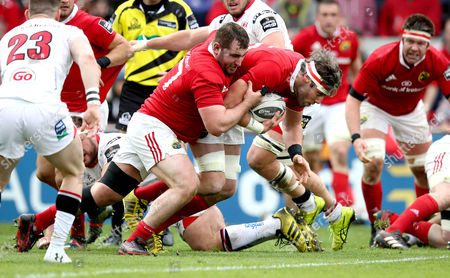 Munster vs Ulster. Munster's Dave O?Callaghan scores their third try of the game supported by James Cronin