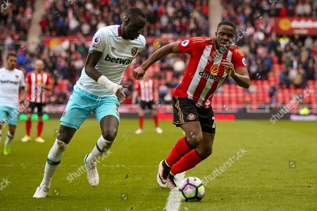 Sunderland forward Victor Anichebe (28) in action  during the Premier League match between Sunderland and West Ham United at the Stadium Of Light, Sunderland