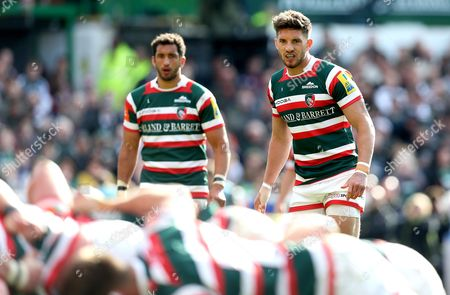 Owen Williams of Leicester Tigers and Maxime Mermoz of Leicester Tigers
