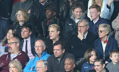 Crystal Palace celebrity fans Maxi Jazz of The Faithless & Comedian Eddie Izzard watch Crystal Palace v Leicester City from the stands at Selhurst Stadium.
