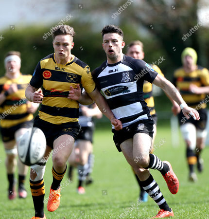 Old Belvedere vs Young Munster. Old Belvedere's David Branden and Young Munster's James O?Connor