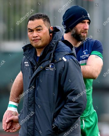 Stock Image of Connacht vs Leinster . Connacht Head Coach Pat Lam with John Muldoon