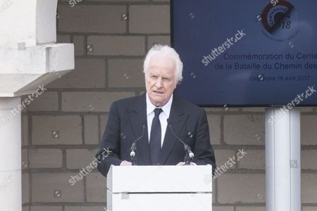 French actor Andre Dussollier delivers a speech during a ceremony for the commemoration of the Chemin des Dames battle for its 100th anniversary in Cerny en Laonnois, France, 16 April 2017. About 187,000 French and 163,000 German soldiers died during the Chemin des Dames battle.