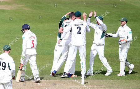 Josh Tongue of Worcestershire celebrates after Kiran Carlson is caught by Ben Cox.
