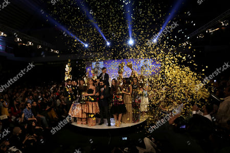Models present creations by Pakistani designer Ali Xeeshan during the Pakistan Fashion Design Council (PFDC) fashion week in Lahore, Pakistan, 15 April 2017. (issued 16 April) The event runs through 13 April to 15 April.