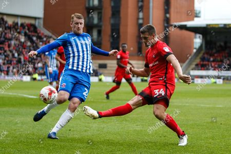 Michael Clark of Leyton Orient and Scott Harrison of Hartlepool United during the EFL Sky Bet League 2 match between Leyton Orient and Hartlepool United at the Matchroom Stadium, London