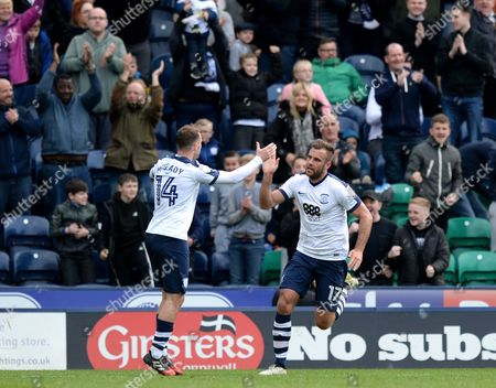 Tommy Spurr of Preston North End (right) celebrates scoring his side?s first goal with Aidan McGeady of Preston North End during the Sky Bet Championship match between Preston North End and Norwich City played at Deepdale Stadium, Preston on 17th April 2017