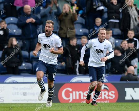Tommy Spurr of Preston North End (left) celebrates scoring his side?s first goal during the Sky Bet Championship match between Preston North End and Norwich City played at Deepdale Stadium, Preston on 17th April 2017