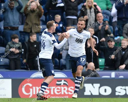 Tommy Spurr of Preston North End (right) celebrates scoring his side?s first goal during the Sky Bet Championship match between Preston North End and Norwich City played at Deepdale Stadium, Preston on 17th April 2017