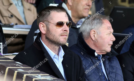 Peterborough United Chairman Darragh MacAnthony in the stands before the game