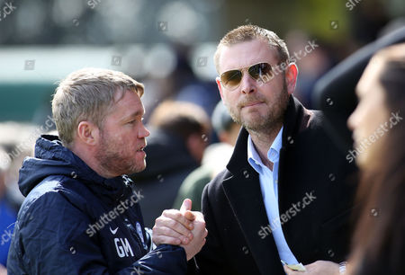 Peterborough United Manager Grant McCann with Chairman Darragh MacAnthony before the game