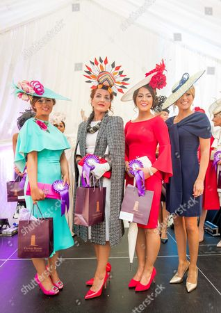 2017 Fairyhouse Racing Festival, Fairyhouse Racecourse, Co. Meath 17/4/2017. 3 Finalists in the Carton House Most Stylish Lady competition, Mary Curry from Armagh, Tara Hanniffy from Newbridge and Laura Elliott from Belfast with judge Jenny Buckley