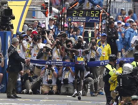 Edna Kiplagat of Kenya  wins the Womens Division of the 121st Boston Marathon in Boston, Massachusetts, USA 17 April 2017.