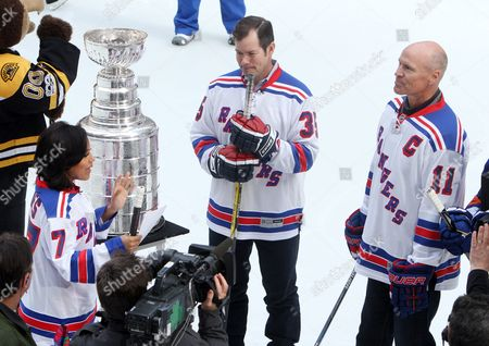 Stock Photo of Sheinelle Jones, Mike Richter and Mark Messier