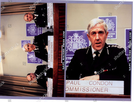 Paul Condon police commissioner,LORD(Paul)CONDON of Langton Green,Life Peer/June2001his assistant Anderson Dunn & superintendant Barry Vincent attending press conference after murder of PC Phillip Walters.