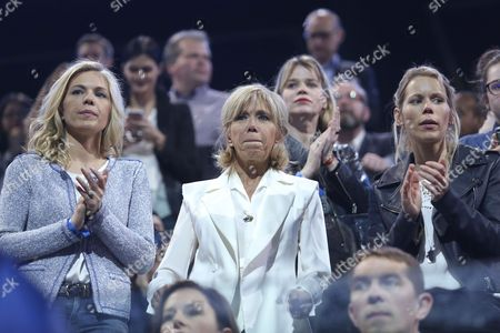 Brigitte Trogneux, wife of Emmanuel Macron and daughters Laurence Auziere-Jourdan and Tiphaine Auziere (r)