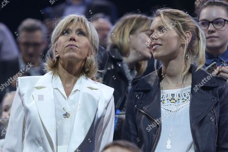 Brigitte Trogneux, wife of Emmanuel Macron and daughter Tiphaine Auziere (r)