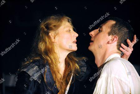 Victory at the Arcola Theatre Geralidine James ( Mary Bradshaw ) Nicholas Rowe ( Charles II )