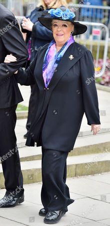 The Funeral Of Coronation Street. Creator Tony Warren At Manchester Cathedral Former Corrie Actress Julie Goodyear Attends  -18/3/16.