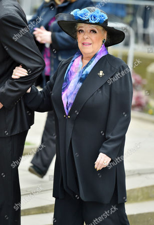 Stock Image of Funeral Of Coronation St. Creator Tony Warren At Manchester Cathedral. Julie Goodyear.