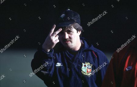 Stuart Barnes - Lions fly half jokingly gestures at having his photograph taken. Lions training session, Dunedin, New Zealand. Lions Tour to New Zealand 1993