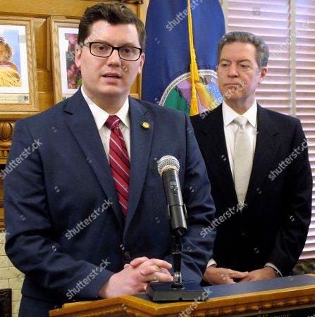 Jake LaTurner, Sam Brownback Kansas state Senator Jake LaTurner, left, R-Pittsburg, speaks to reporters after his appointment as state treasurer by Gov. Sam Brownback, right, during a news conference, at the Statehouse in Topeka, Kan. LaTurner is replacing Republican Ron Estes following Estes' victory in a special congressional election