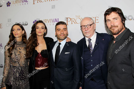 Angela Sarafyan, Charlotte Le Bon, Oscar Isaac, Terry George and Christian Bale