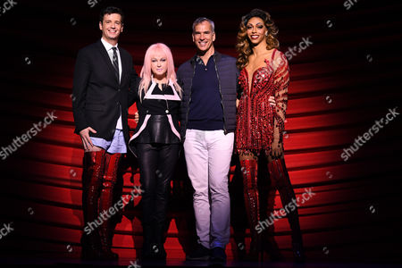 Australian actor Toby Francis (L), who plays the role of Charlie, US singer-songwriter Cyndi Lauper (2-L), US choreographer Jerry Mitchell (2-R) and British actor Callum Francis (R), who plays the part of Lola, pose for a photograph before a dress rehearsal media call of the musical Kinky Boots in Sydney, Australia, 19 April 2017. Kinky Boots will open at the Capital Theatre in Sydney on the same day.