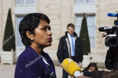 French Overseas departments minister Ericka Bareigts leaves after a cabinet meeting at the Elysee Palace