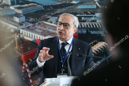 Italy''s Giuseppe Bono, CEO of Fincantieri, delivers his speech at the STX shipyard in Saint-Nazaire, western France, . Fincantieri announced on April 6, 2017 it signed an agreement with France, a key element for the finalization of the final agreements among future shareholders