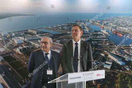 Italy''s Giuseppe Bono, CEO of Fincantieri, left, and Laurent Castaing, head of the STX shipyard attend a press conference at the STX shipyard in Saint-Nazaire, western France, . Fincantieri announced on April 6, 2017 it signed an agreement with France, a key element for the finalization of the final agreements among future shareholders