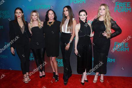 Troian Bellisario, Ashley Benson, I. Marlene King, Shay Mitchell, Lucy Hale and Sasha Pieterse