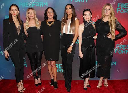 Troian Bellisario, Ashley Benson, Marlene King, Shay Mitchell, Lucy Hale and Sasha Pieterse