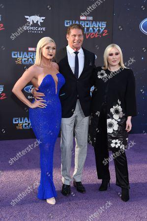 Stock Photo of David Hasselhoff, Hayley Hasselhoff and Taylor Ann Hasselhoff