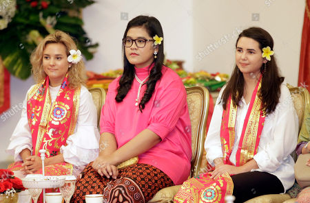 Charlotte Pence, Audrey Pence The daughters of U.S. Vice President Mike Pence, Charlotte, left, and Audrey, right, sit with the daughter of Indonesian President Joko Widodo, Kahiyang Ayu, center, as they watch a cultural performance at Merdeka Palace in Jakarta, Indonesia, . Indonesia is the latest stop on an Asian tour by Pence that is reinforcing traditional U.S. alliances at a time when Donald Trump's presidency has raised questions about the strength of the U.S. commitment to the region