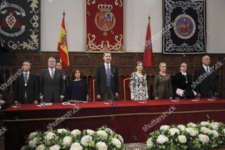 Editorial image of SPANISH ROYAL COUPLE CHAIRS CERVANTES 2016 AWARD CEREMONY, Alcala De Henares, Spain - 20 Apr 2017