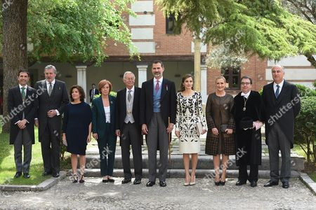 Stock Picture of Spain's King Felipe VI (C) and Queen Letizia (C-R) pose next to Spanish writer Eduardo Mendoza (C-L) and his partner Anna Soler (4-L), among others, at the end of the Miguel de Cervantes 2016 award ceremony at Alcala de Henares University on the outskirts of Madrid, Spain, 20 April 2017. Spanish writer Eduardo Mendoza Garriga has received this year's award. The Cervantes Prize is annually awarded to honour the lifetime achievement of an outstanding writer in the Spanish language.