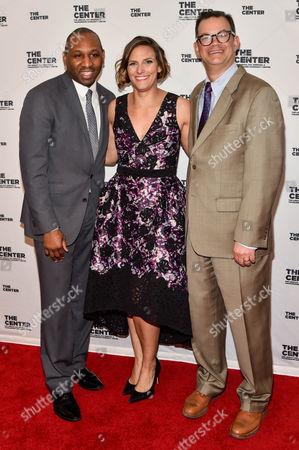 Donovan Richards (L), Glennda Testone (M), Andy Cohen (R)