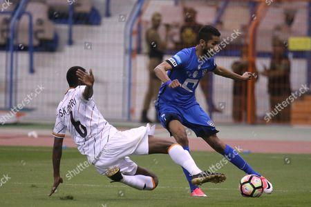 Al-Shabab player Saud Kariri (L) in action for the ball with Al-Hilal player Salman Al-Faraj (R) during the Saudi Professional League soccer match between Al-Shabab and Al-Hilal at King Fahd International Stadium in Riyadh, Saudi Arabia, 20 April 2017.