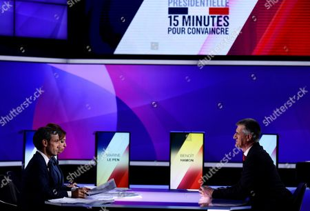 French presidential candidate Jean Lassalle (R) speaks with French journalists and television hosts David Pujadas (L) and Lea Salame (2-L) during a special political TV show entitled '15mn to convince' at the studios of French television channel France 2 in Saint-Cloud, west of Paris, France, 20 April 2017, a few days ahead of the first round of the presidential election. France holds the first round of the 2017 presidential elections on 23 April 2017.