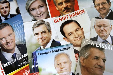 Leaflets of candidates for presidential election with Jean Lassalle, Jacques Cheminade, Francois Asselineau, Benoit Hamon, Nathalie Arthaud, Jean-Luc Melenchon, Nicolas Dupont-Aignan, Francois Fillon, Philippe Poutou, Marine Le Pen, Emmanuel Macron.