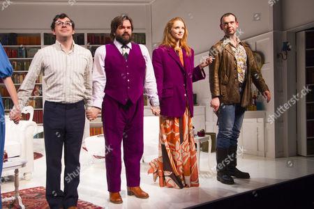 Stock Photo of Simon Bird (Philip), Matt Berry (Braham), Lily Cole (Araminta) and John Seaward (John) during the curtain call