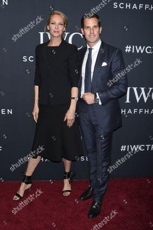 Uma Thurman and Christoph Grainger-Herr, CEO of IWC Schaffhausen