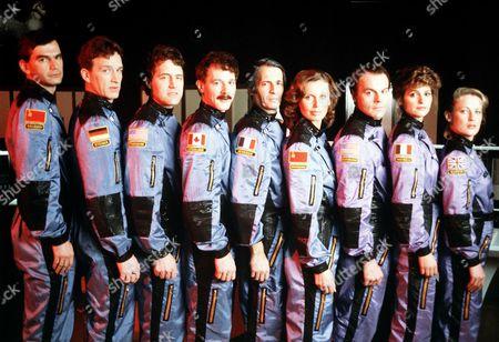 'Murder in Space'   TV  L-R: Damir Andrei, Tom Butler, Scot Debton, Timothy Webber, Leo Llial, Jan Rubes, Michael Ironside, Alberta Watson and Kate Trotter.